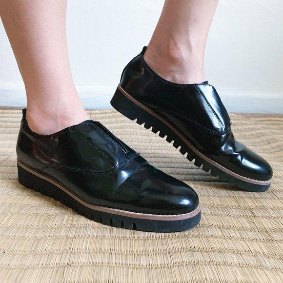 ZARA Stretch Black Platform Blutcher Oxford Shoes